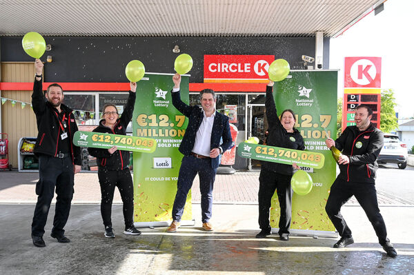Celebrating here at Circle K on the Waterford Road in Kilkenny are: Chris Browne (Senior Sales Assistant); Marie Richards (Store Manager), Steve Quinn (Sales Market Manager ) Caroline Hall (Senior Sales Assistant) and Stefan Saba (Sales Assistant) Picture: Vicky Comerford / Mac Innes Photography