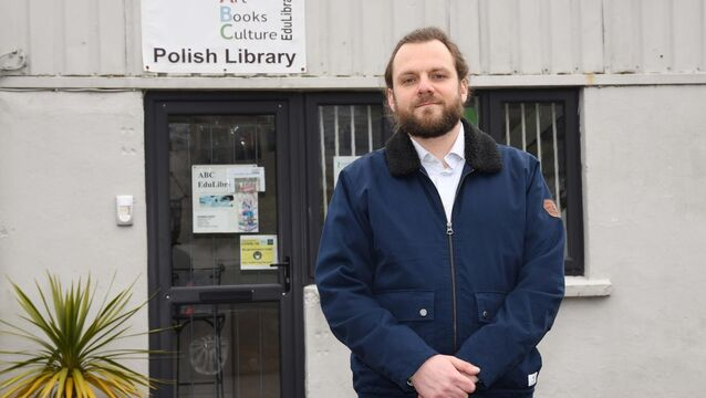 <p>Tomasz Trela, a board member of the ABC [art, books, culture] EduLibrary in Cork for which there is a fundraising campaign, pictured outside the ABC EduLibrary. Picture Denis Minihane.</p>