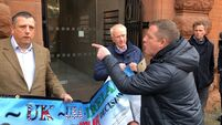 Brother of loyalist murder victim disrupts Northern Ireland Protocol protest