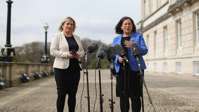 <p>Sinn Féin deputy leader Michelle O'Neill and leader Mary Lou McDonald outside Stormont in Belfast, speaking to media this afternoon following a loyalist protest in the city against Brexit's Northern Ireland Protocol. Picture: Niall Carson/PA Wire</p>