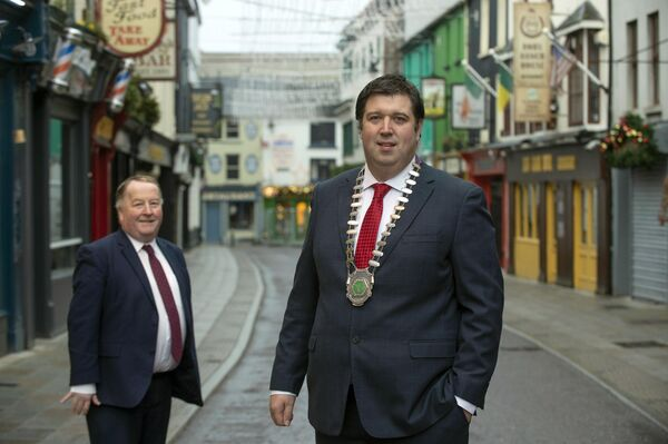 Cllr Niall Kelleher, president of Killarney Chamber of Tourism and Commerce with Paul Sherry, KCTC on pedestrianised Plunkett Street in Killarney town centre. Picture: Don MacMonagle