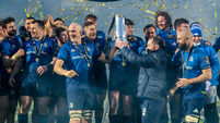 Devin Toner and Michael Bent lift the Guinness PRO14 trophy as Leinster are champions 27/3/2021