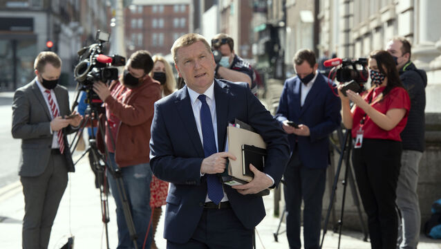 <p> Michael McGrath, Minister for Public Expenditure and Reform at Government Buildings for the Government announcement of plans for easing Covid restrictions following a Cabinet meeting today.</p>