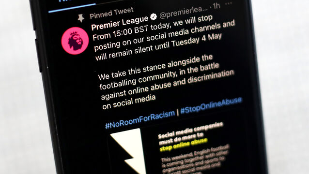 <p>The social media profile of the Premier League who are taking part in a social media boycott until Monday. Picture: James Warwick</p>