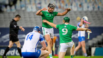 Gearoid Hegarty and Will O'Donoghue celebrate as Limerick are All-Ireland Hurling Champions 13/12/2020