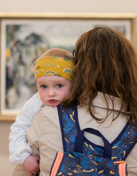 Elaine Morrissey and her daughter Avilina Collins, 18 months, from Blackrock, Co Dublin, at the reopening of the National Gallery. Picture:Gareth Chaney/Collins