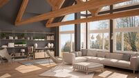 Living room of luxury eco house, parquet floor and wooden roof trusses, panoramic window on autumn meadow, modern white and gray