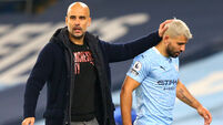 Pep Guardiola and Sergio Aguero File Photo