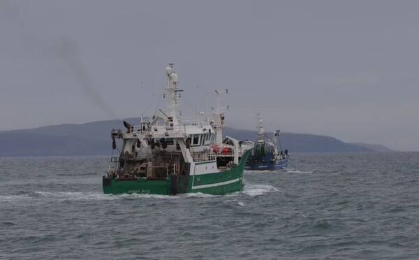 The Ronan Ross followed by the Sarah David on their way to Cork Harbour. They are part of a flotilla of eight that started out from Castletownbere at 8pm on Tuesday night. Picture: Neil Michael.