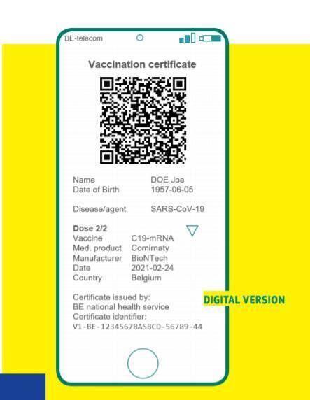 A mock-up of the EU's digital green certificate