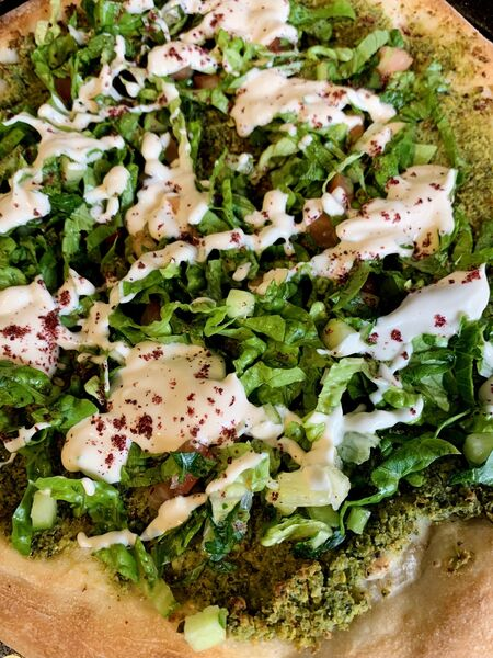 Manooshet Falafel, baked flatbread, one of the dishes from Izz Cafe (Picture: Joe McNamee)