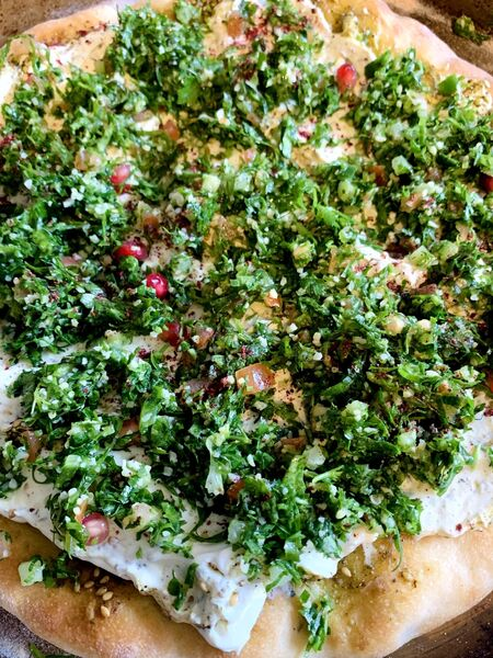 Manooshet Labneh, baked flatbread, one of the dishes on the Izz Cafe menu (Picture: Joe McNamee)
