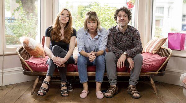 Liz (Diane Morgan); Julia (Anna Maxwell-Martin); Kevin (Paul Ready) in Motherland. Picture: Colin Hutton