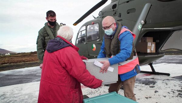 V Day: In the West of Ireland, Pilot Lt Oisin Murtagh and crew member Dermot Corcoran make a crucial flight to deliver vaccines to elderly residents on the remote settings of Clare Island, Inishturk, Inishbiggle, and Inishbofin.