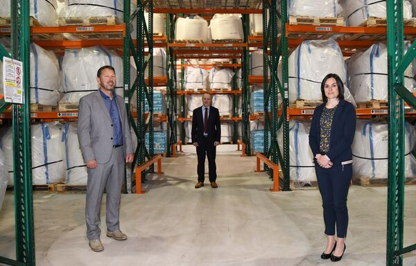 Ger Webb, sales manager (left) with Carbon Group, pictured with Deirdre Kennedy, HR manager, and Brian Walsh, managing director.