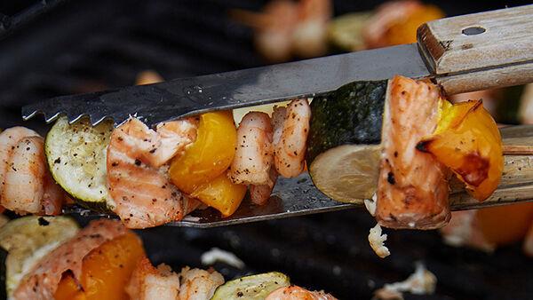 Salmon and prawn skewers