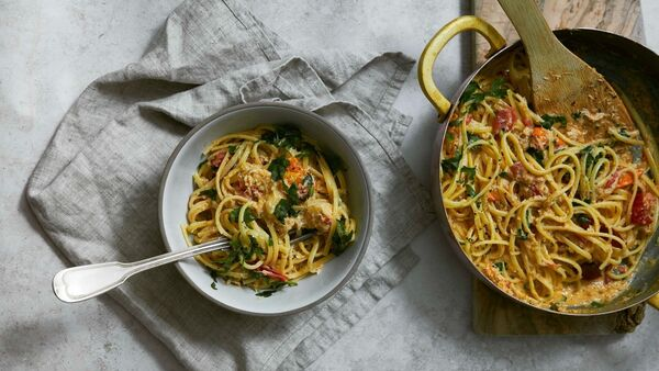 Crab Linguine with chilli and cherry tomatoes