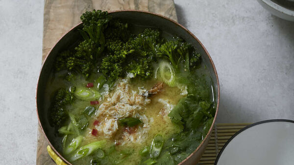 Ginger broth with crab and tenderstem broccoli