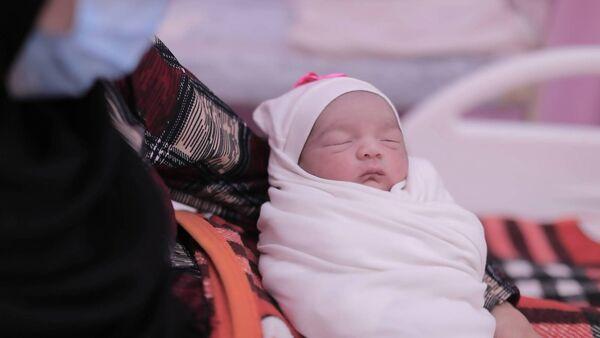 Baby Sedra at Al-Awda Hospital in Gaza, Palestine.  Photo: ActionAid Ireland
