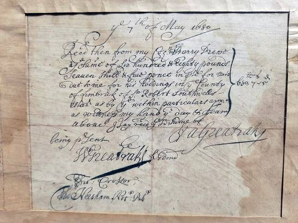 The 1680 Greatrakes receipt.