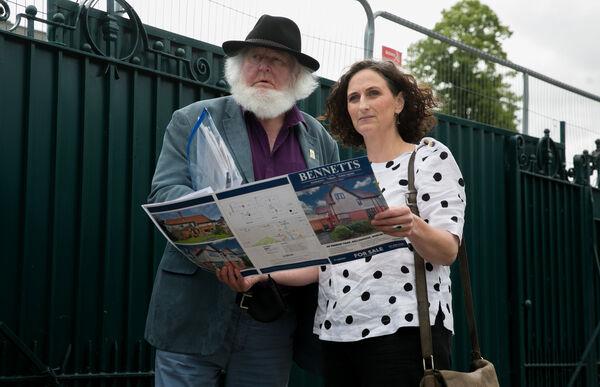 Dublin Bay South candidate for Sinn Féin Lynn Boylan &;  Prionsisas O Rahilly, grandson of Michael Joseph O'Rahilly (The O'Rahilly) at 40 Herbert Park, Dublin.  Photo: Gareth Chaney / Collins