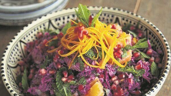 Red cabbage, orange and pomegranate sunburst salad
