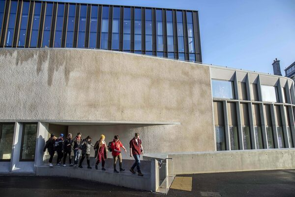 UCC students pictured at the new UCC hub.  Photo: Clare Keogh