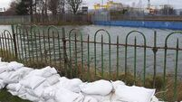 Tidal surge flood warning in Belfast docks