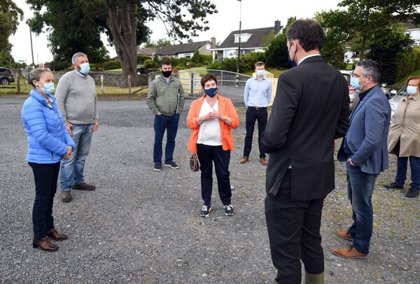 Charlie McConalogue speaking to an IFA delegation during his visit to Cahir Mart, Co. Tipperary.  Many farmers are concerned about the proposed changes to the CAP system aimed at balancing payments, but some farm incomes will suffer.  Photo: Denis Minihane.