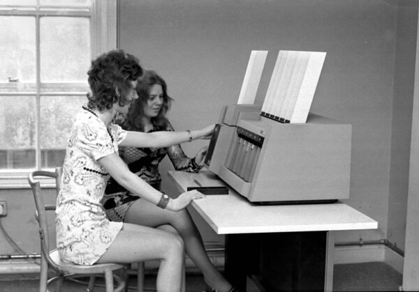 In modern times, computers are on in the Cork Examiner offices at Academy St in 1971. Photo: Irish Examiner Archive