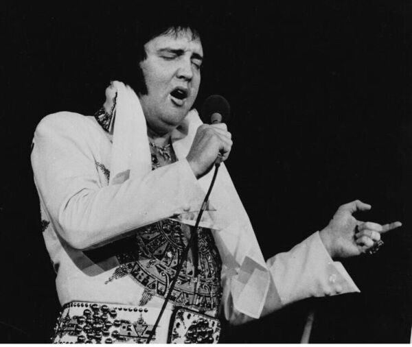 Elvis Presley performing in Providence on May 23, 1977, less than two months before his death.