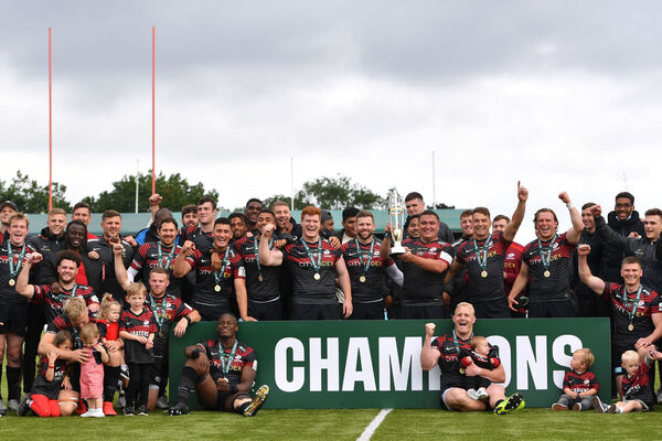 Saracens pose with their trophy after Greene King IPA Championship