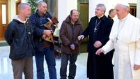Pope shares birthday breakfast with homeless