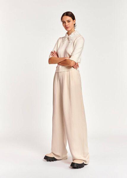 """""""Antigua"""" sweater, € 195;  wide pants, € 195, Essential Antwerp"""