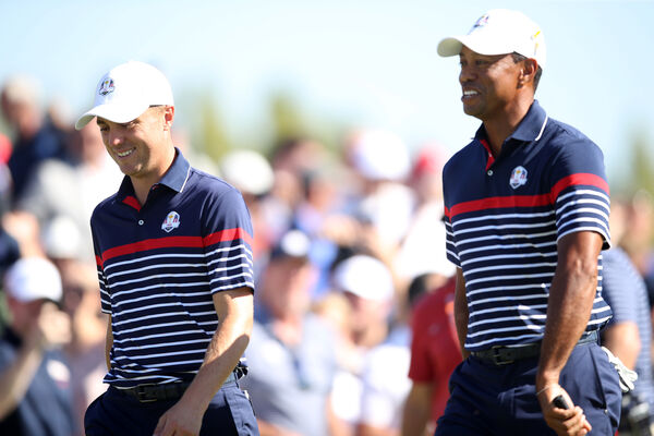 Team USA's Justin Thomas (left) and Tiger Woods during preview day four of the Ryder Cup at Le Golf National, Saint-Quentin-en-Yvelines, Paris.