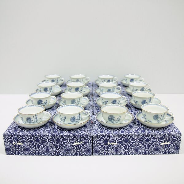 18th century style blue and white porcelain from the Nejlika collection.  Boxes from 250, individual cups and saucers from 30.