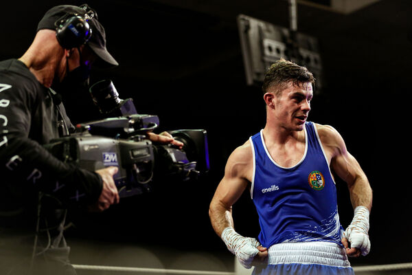 Eugene McKeever (Holy Family, Louth) celebrates after winning his fight.  Image: INPHO / Brian Reilly-Troy