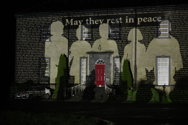 The names of children who died in Bessborough Mother and Baby Home in Cork were projected onto Sean Ross Abbey, in Co Tipperary, on St Brigid's Day.