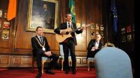 Col Hadfield treats Dublin mayor to stirring performance of 'Ride On'