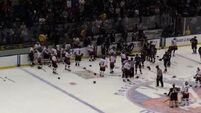 Huge brawl breaks out at charity hockey game between cops and firefighters