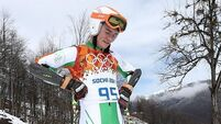 Irish skier out of Giant Slalom after fall in first run