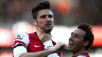 Giroud bounces back with double for Gunners