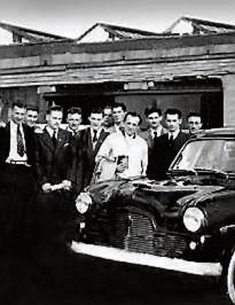 Cork Hurlers and All-Ireland champions visit Fords in 1954. Second from right Mick Cashman, third from right Vincie Twomey, third from left Josie Hartnett.