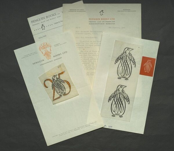 Handdrawn designs for the 25th anniversary of Penguin Elizabeth Friedlander Picture: UCC Library.