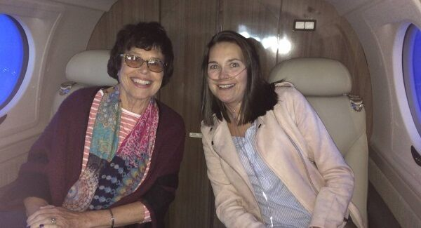 Transplant patient Isabel Terry and her mother Deirdre on the flight to Newcastle's Freeman Hospital in September.