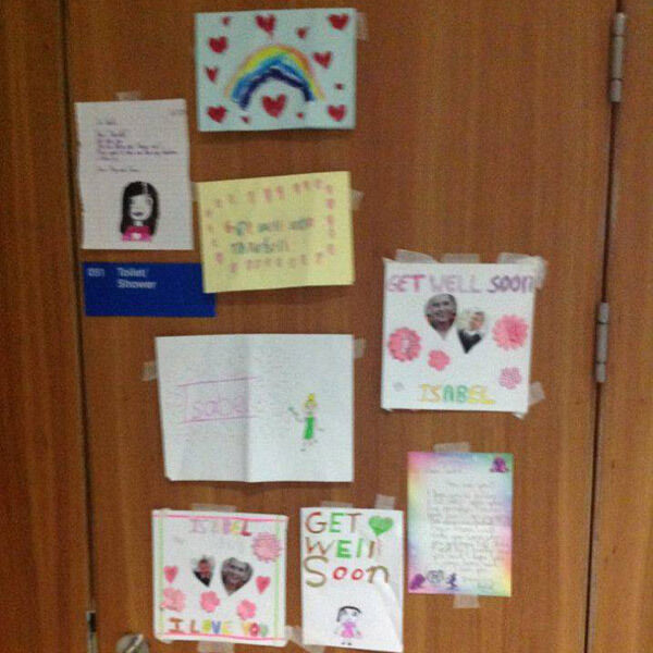 Some of the get-well cards sent Isabel Terry's way over recent weeks, months, and years.