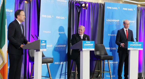 Gavin Duffy presides over the first Fine Gael leadership hustings between Leo Varadkar and Simon Coveney last night. Picture: Stephen Collins