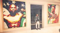 Mayweather shows off Conor McGregor artwork on display at his home