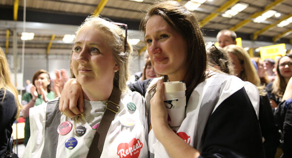 Repeal supporters at Dublin's RDS wait for the start of the count in the referendum on the 8th Amendment. Pic: Brian Lawless/PA Wire