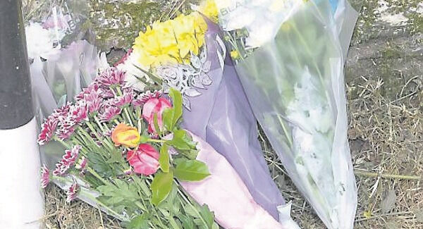 Flowers were layed at the scene of the murder